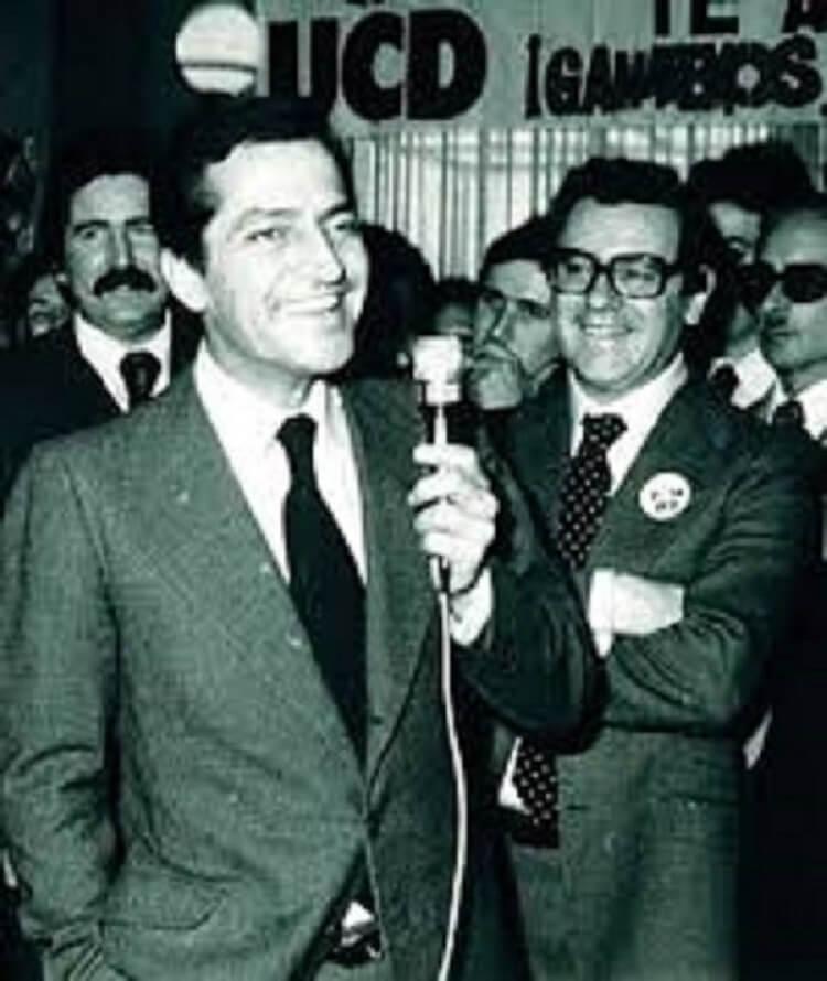 Enrique Sánchez de León con Adolfo Suárez en una visita a Extremadura