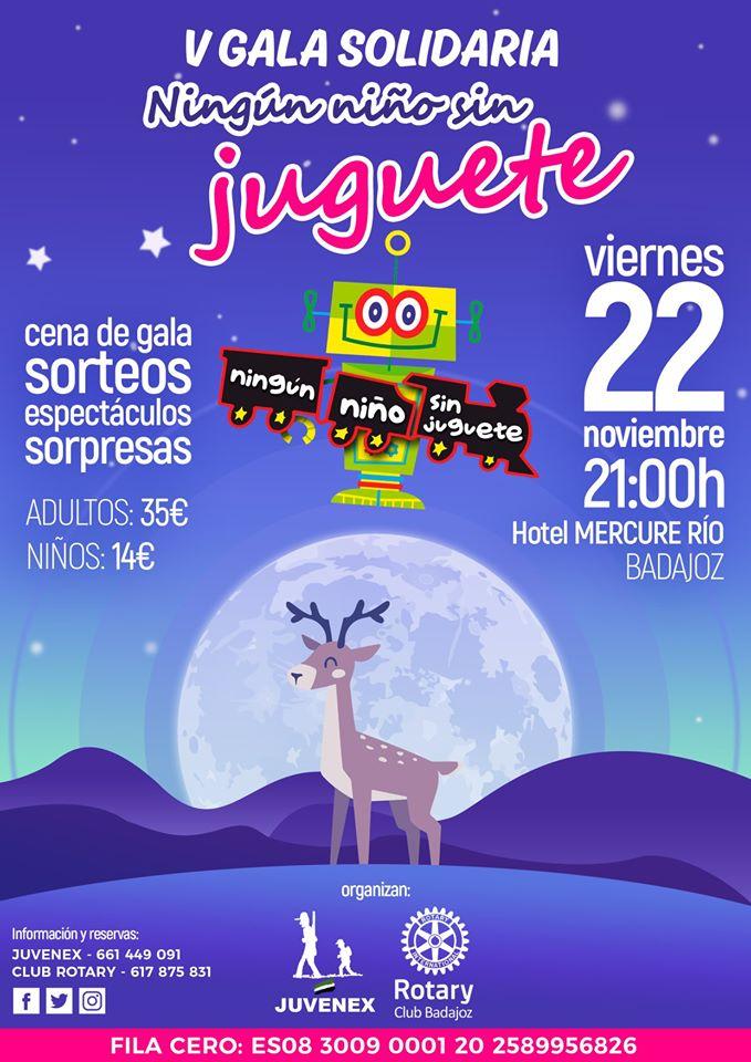 Cartel Gala Solidaria Ningún Niño Sin Juguete; Badajoz 2019; Rotary Badajoz Juvenex;