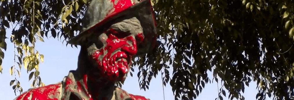 Vandalismo en el Dia de la Hispanidad en Badajoz