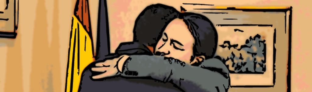 El abrazo del esperpento entre Iglesias y Sánchez