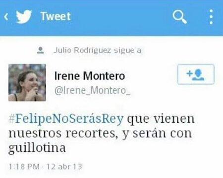 La ministra por pernada, Irene Montero, amenzando al Rey